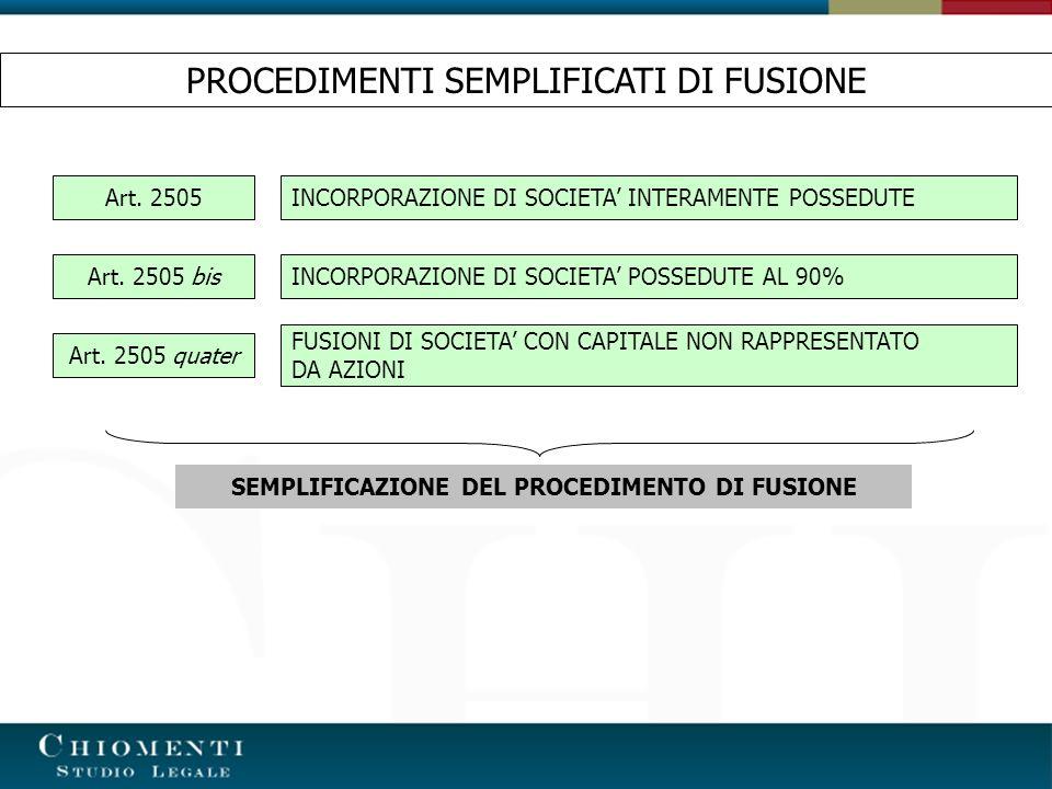 SEMPLIFICAZIONE DEL PROCEDIMENTO DI FUSIONE