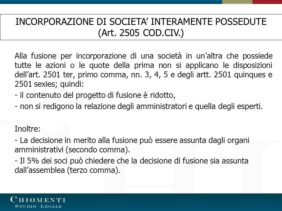 INCORPORAZIONE DI SOCIETA' INTERAMENTE POSSEDUTE