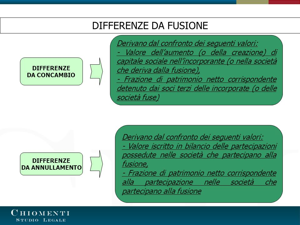 DIFFERENZE DA FUSIONE Derivano dal confronto dei seguenti valori: