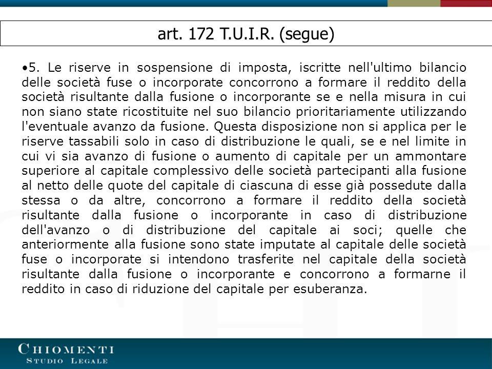 art. 172 T.U.I.R. (segue)