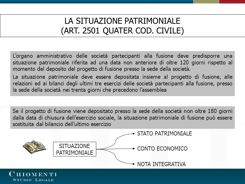 LA SITUAZIONE PATRIMONIALE (ART. 2501 QUATER COD. CIVILE)