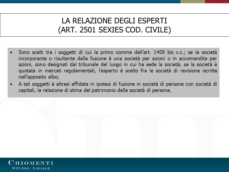 LA RELAZIONE DEGLI ESPERTI (ART. 2501 SEXIES COD. CIVILE)