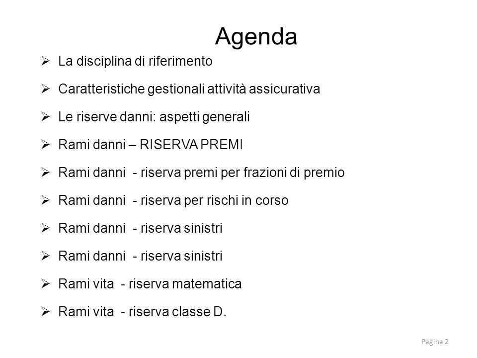 Agenda La disciplina di riferimento