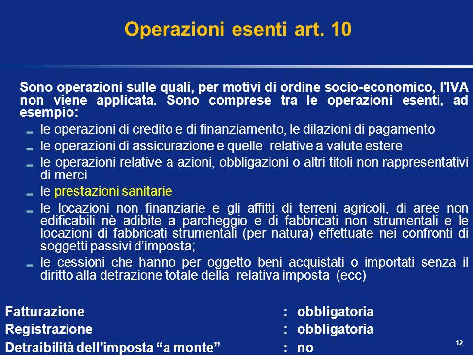 Operazioni esenti art. 10