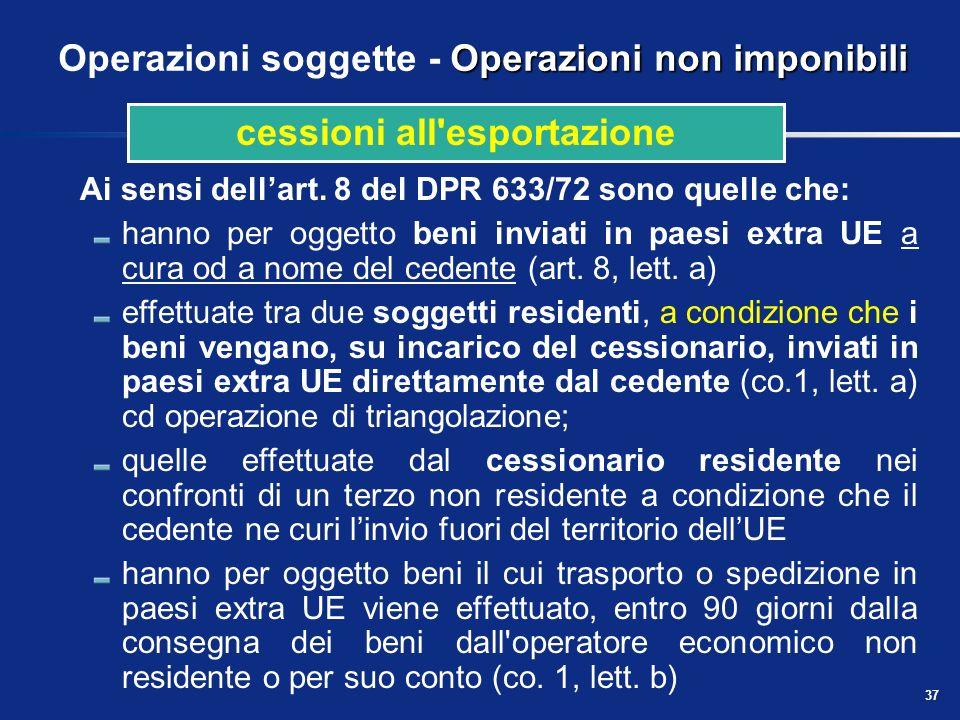 Operazioni soggette - Operazioni non imponibili