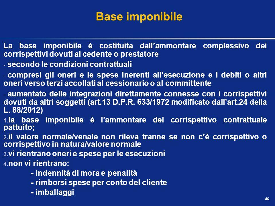 Base imponibile La base imponibile è costituita dall'ammontare complessivo dei corrispettivi dovuti al cedente o prestatore.