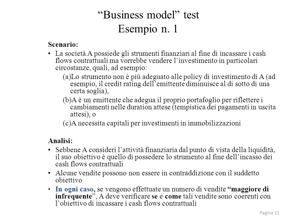 Business model test Esempio n. 1