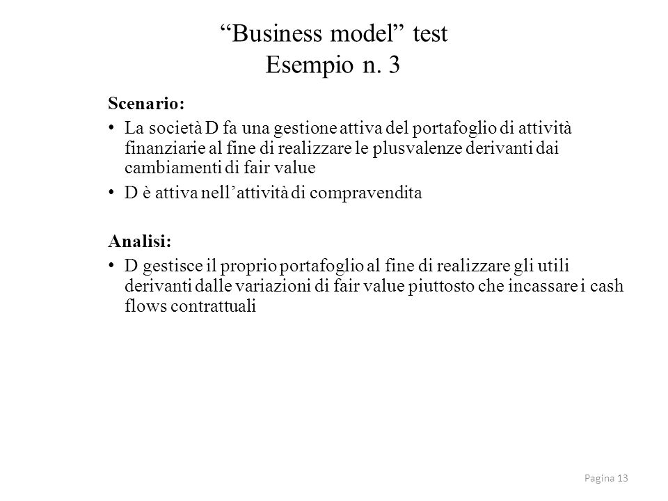 Business model test Esempio n. 3