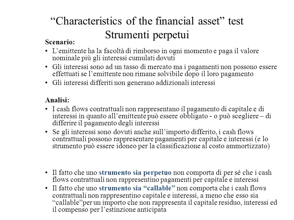 Characteristics of the financial asset test Strumenti perpetui