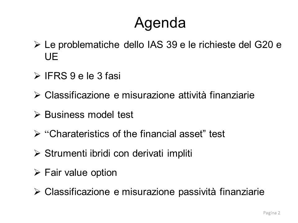 Agenda Le problematiche dello IAS 39 e le richieste del G20 e UE