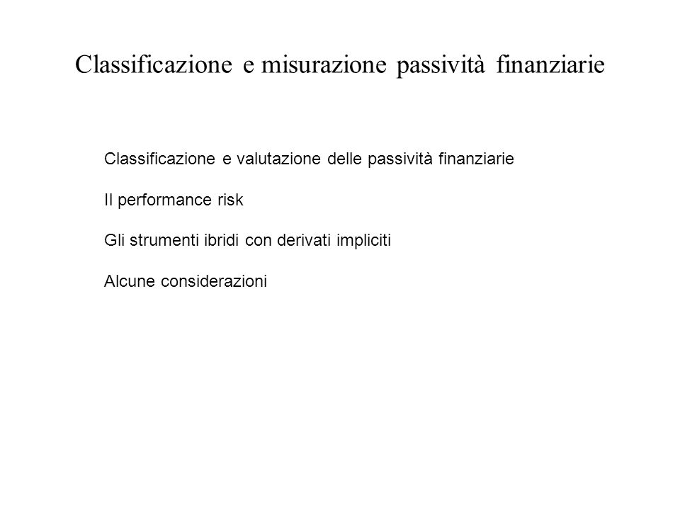 Classificazione e misurazione passività finanziarie