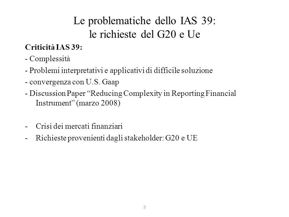 Le problematiche dello IAS 39: le richieste del G20 e Ue