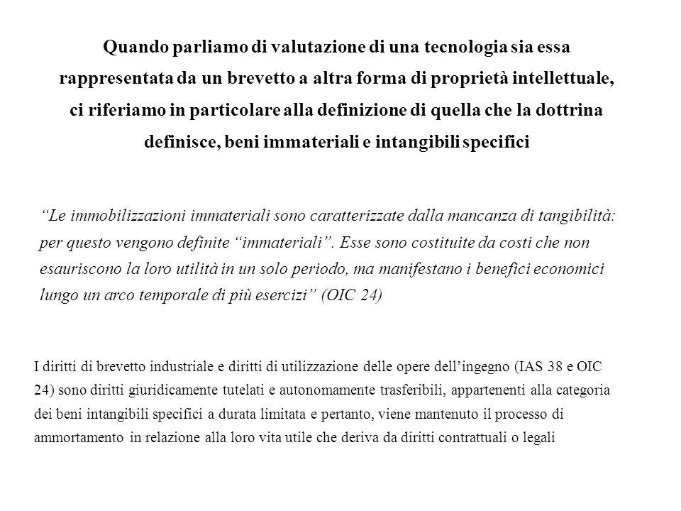 Quando parliamo di valutazione di una tecnologia sia essa rappresentata da un brevetto a altra forma di proprietà intellettuale, ci riferiamo in particolare alla definizione di quella che la dottrina definisce, beni immateriali e intangibili specifici