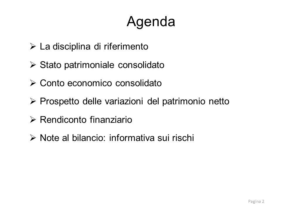 Agenda La disciplina di riferimento Stato patrimoniale consolidato