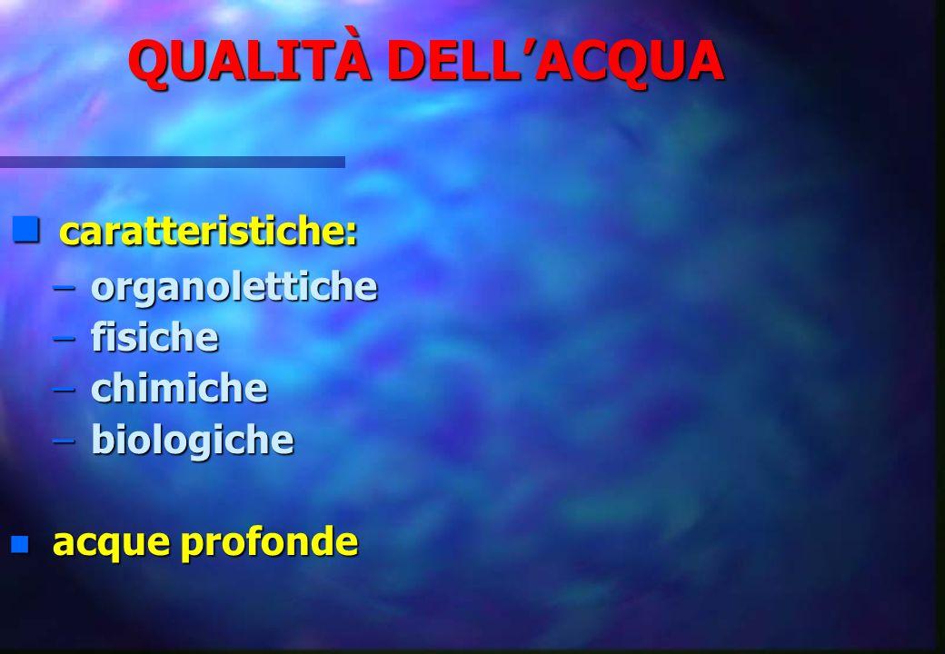 caratteristiche: QUALITÀ DELL'ACQUA organolettiche fisiche chimiche