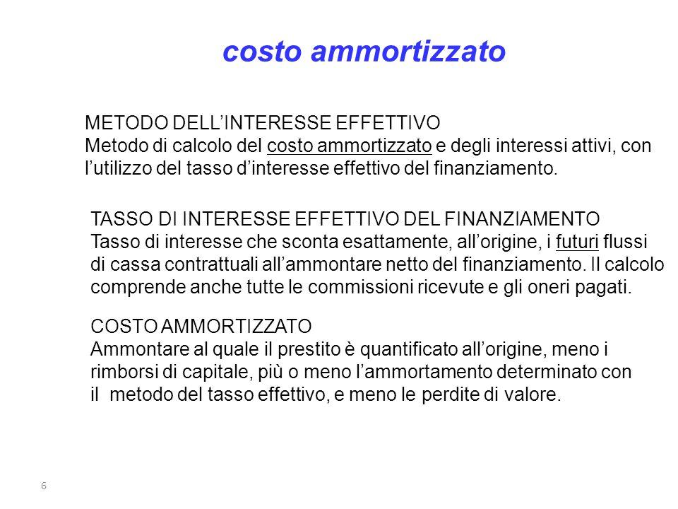 costo ammortizzato METODO DELL'INTERESSE EFFETTIVO