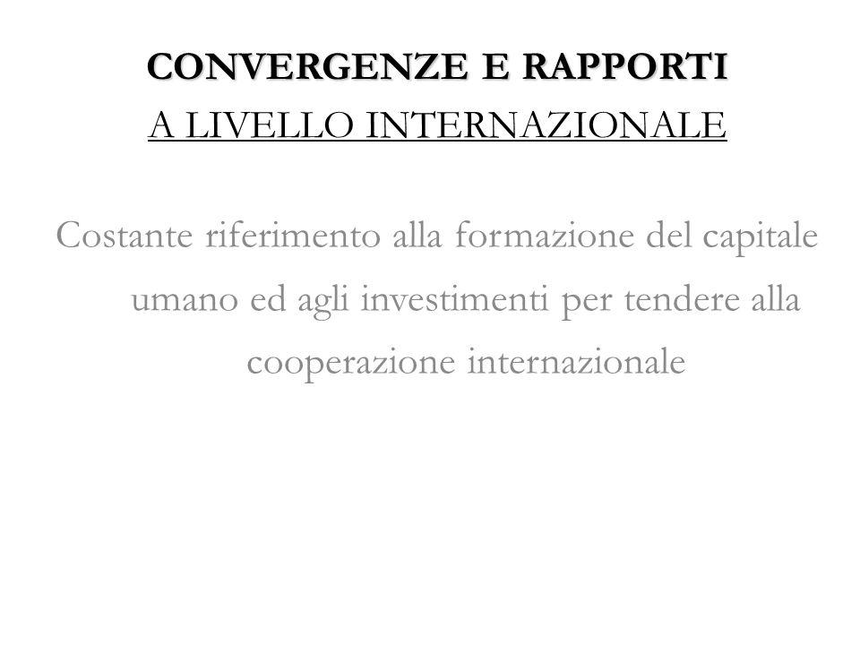 CONVERGENZE E RAPPORTI A LIVELLO INTERNAZIONALE