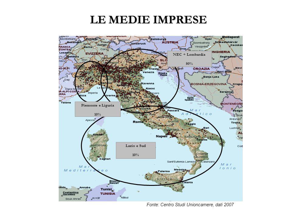 LE MEDIE IMPRESE Fonte: Centro Studi Unioncamere, dati 2007
