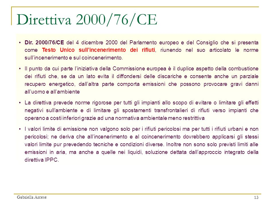 Direttiva 2000/76/CE