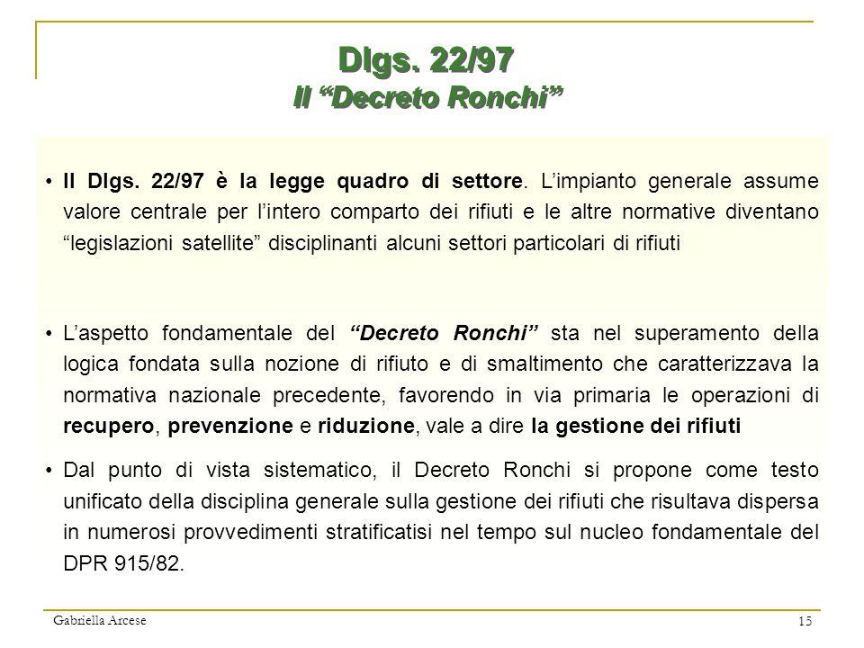 Dlgs. 22/97 Il Decreto Ronchi