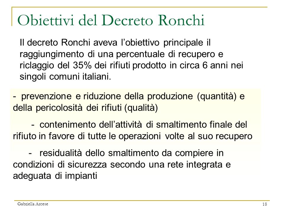 Obiettivi del Decreto Ronchi