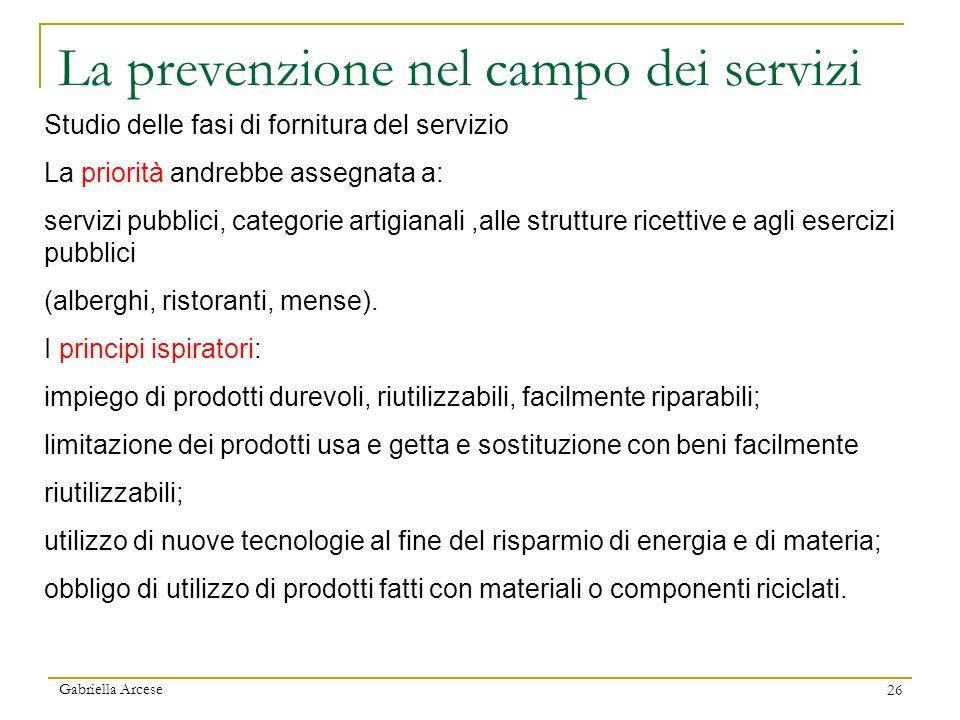 La prevenzione nel campo dei servizi