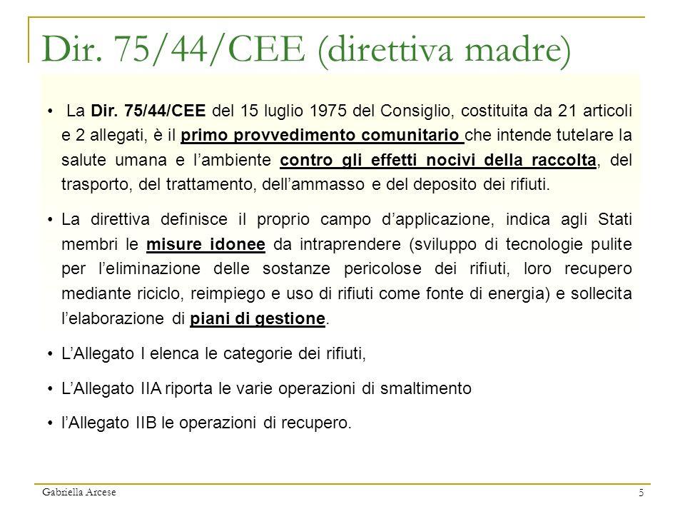 Dir. 75/44/CEE (direttiva madre)