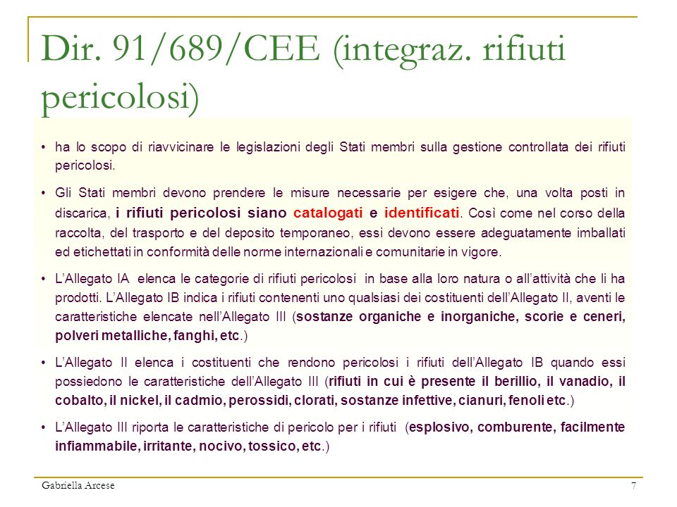 Dir. 91/689/CEE (integraz. rifiuti pericolosi)