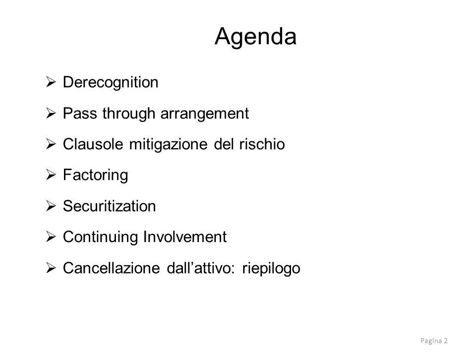 Agenda Derecognition Pass through arrangement