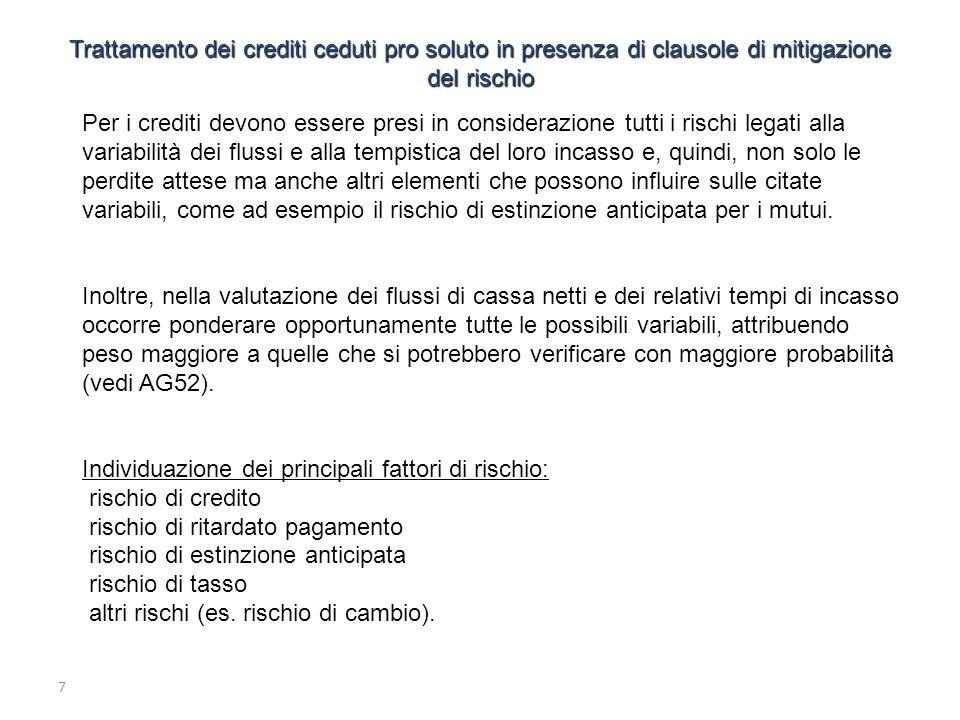 Individuazione dei principali fattori di rischio: rischio di credito