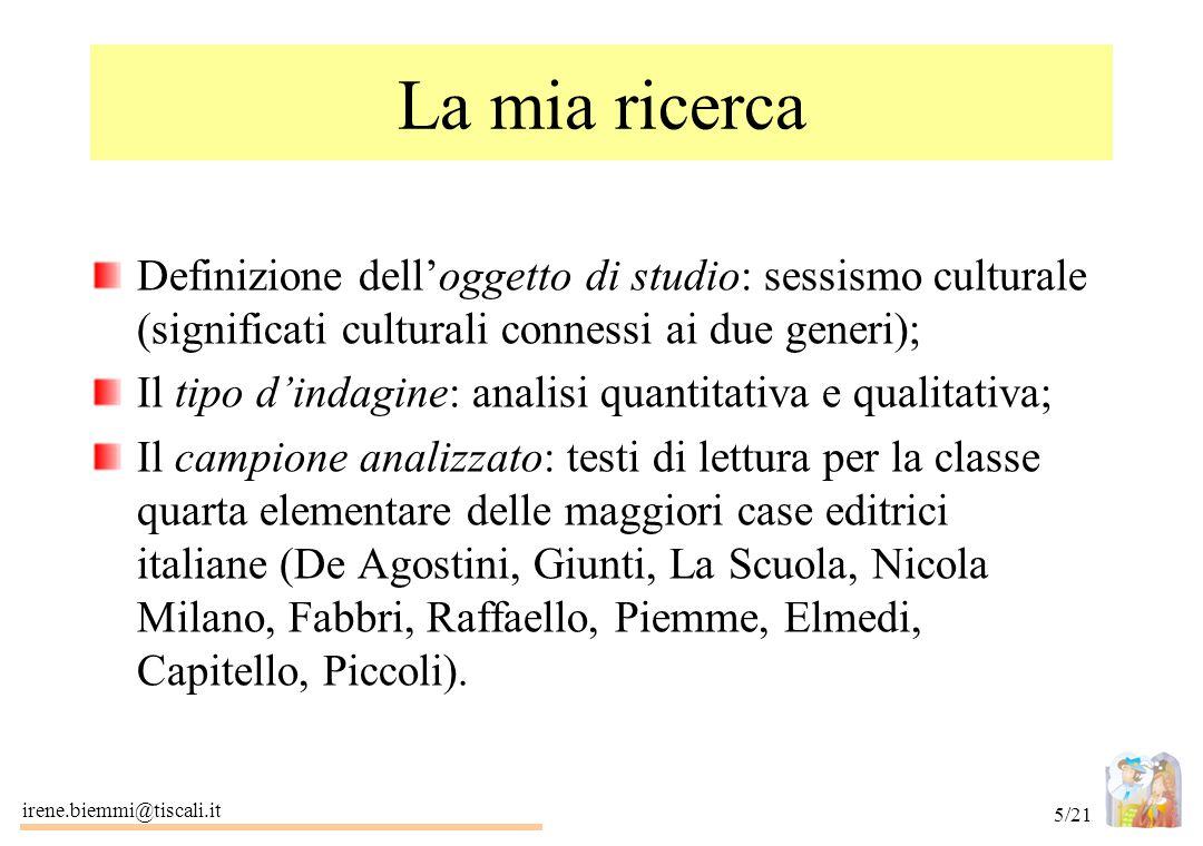 La mia ricerca Definizione dell'oggetto di studio: sessismo culturale (significati culturali connessi ai due generi);