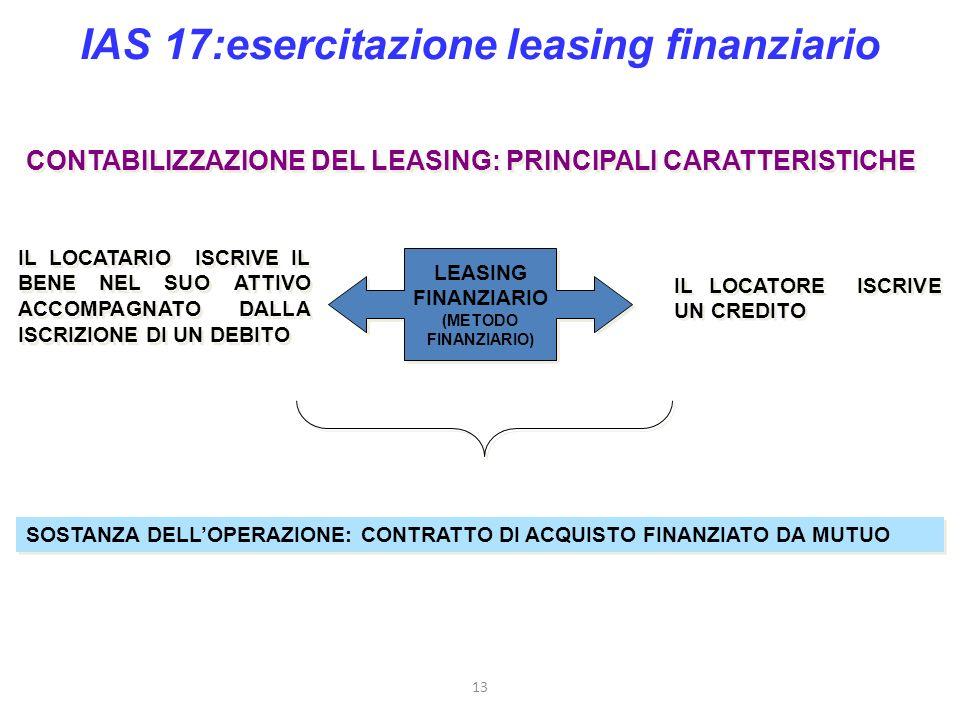 IAS 17:esercitazione leasing finanziario