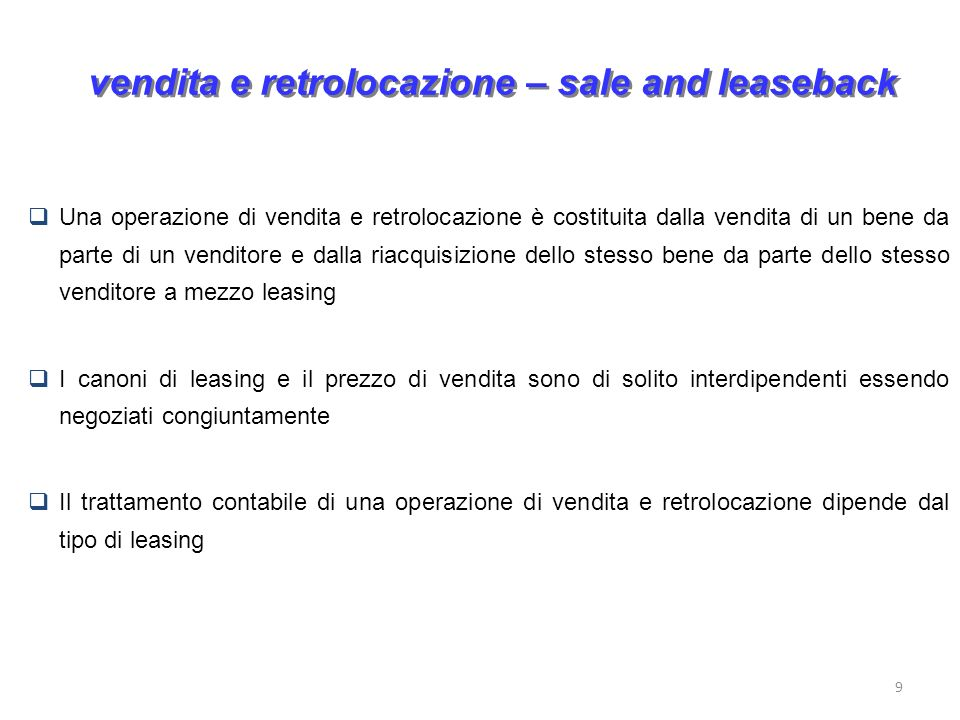 vendita e retrolocazione – sale and leaseback