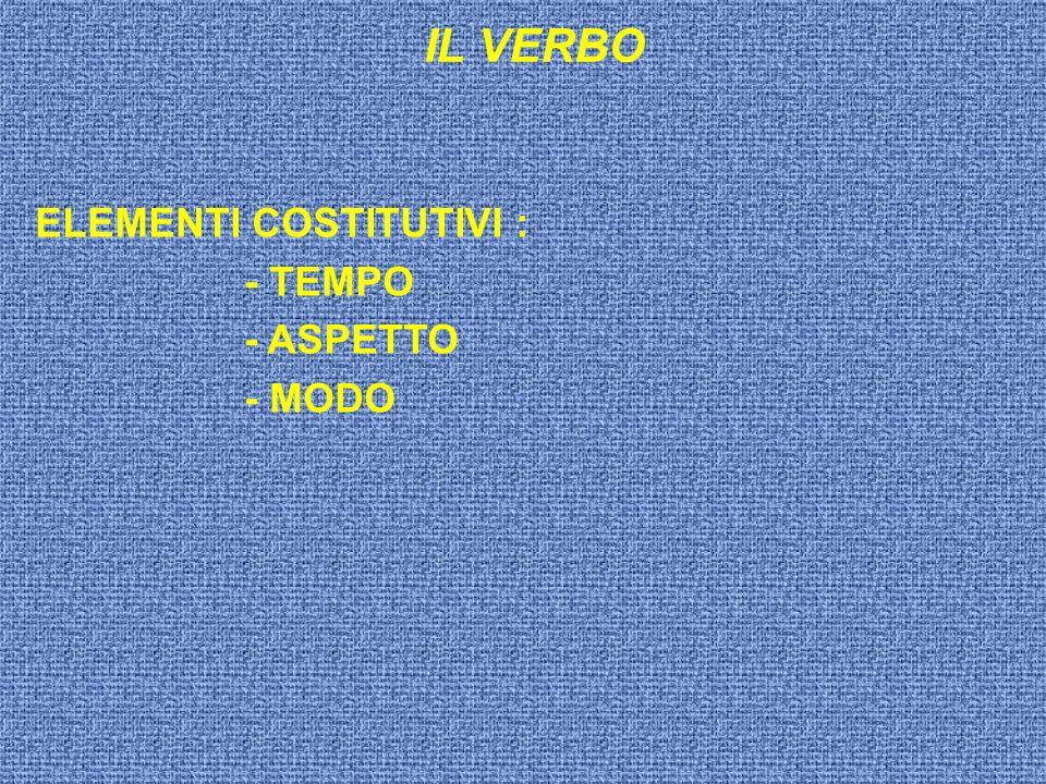 ELEMENTI COSTITUTIVI : - TEMPO - ASPETTO - MODO