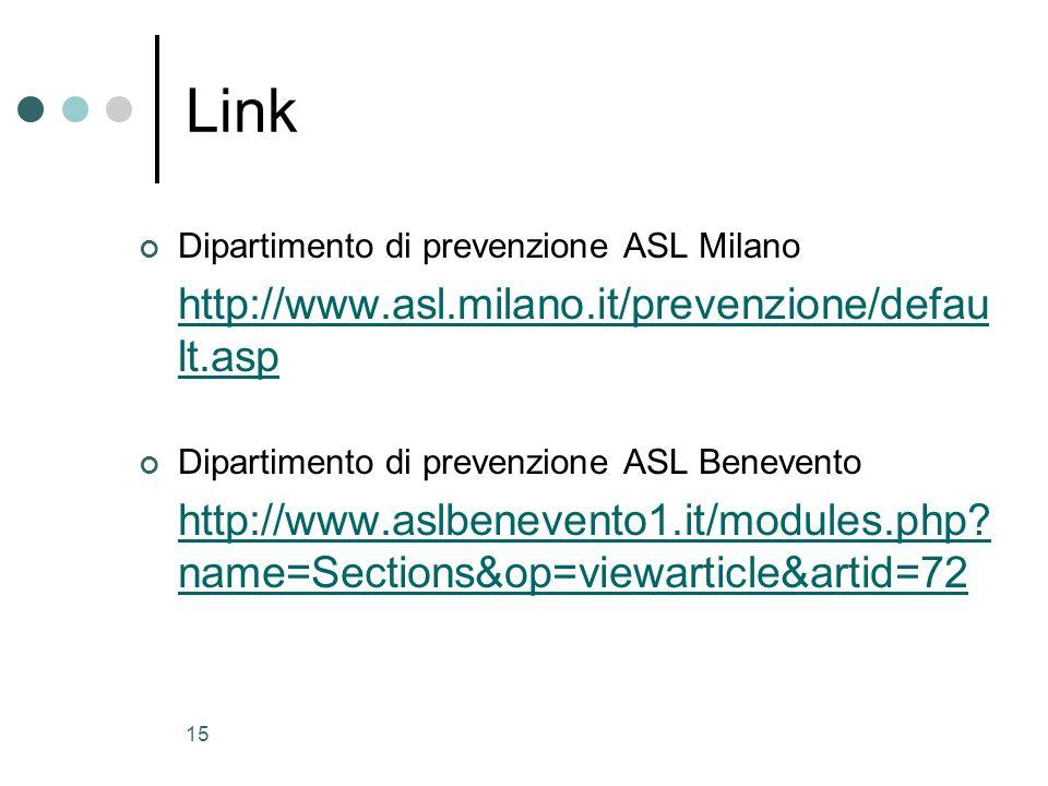 Link http://www.asl.milano.it/prevenzione/default.asp