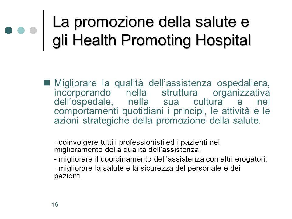 La promozione della salute e gli Health Promoting Hospital
