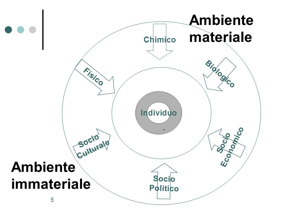 Ambiente materiale Ambiente immateriale Chimico Biologico Fisico