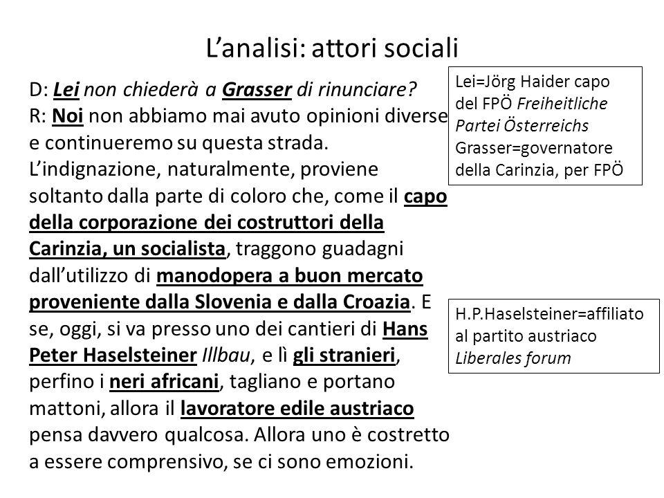 L'analisi: attori sociali