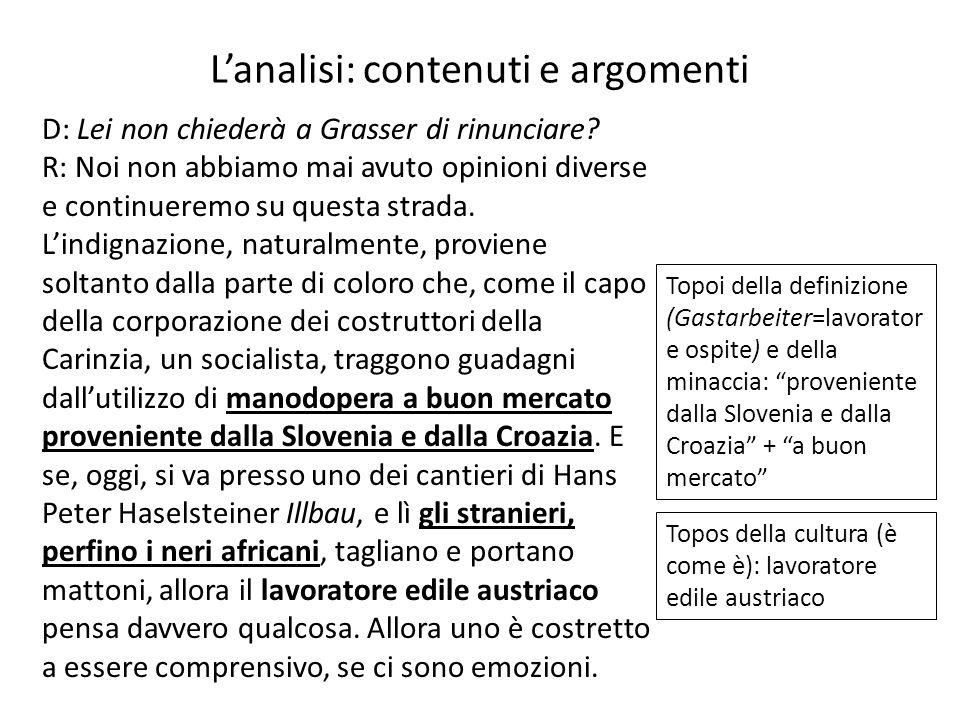 L'analisi: contenuti e argomenti