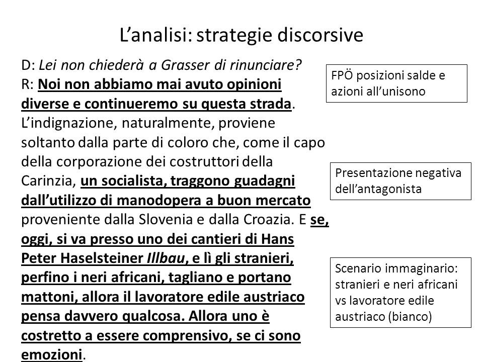 L'analisi: strategie discorsive