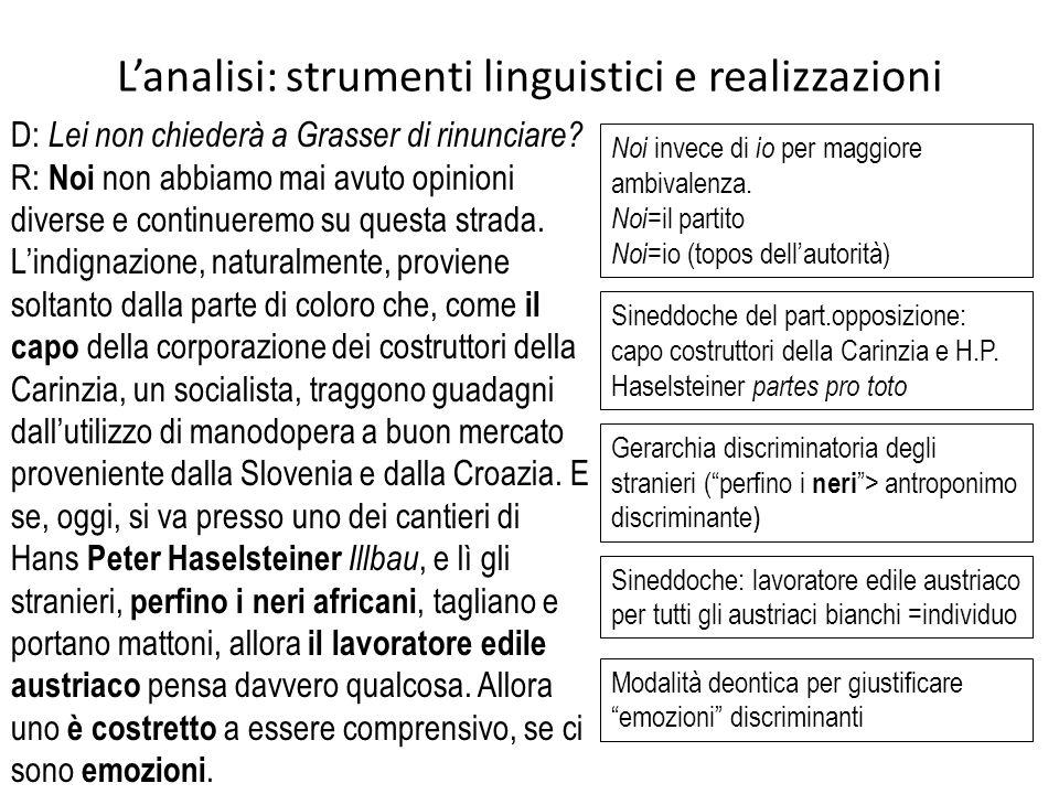 L'analisi: strumenti linguistici e realizzazioni