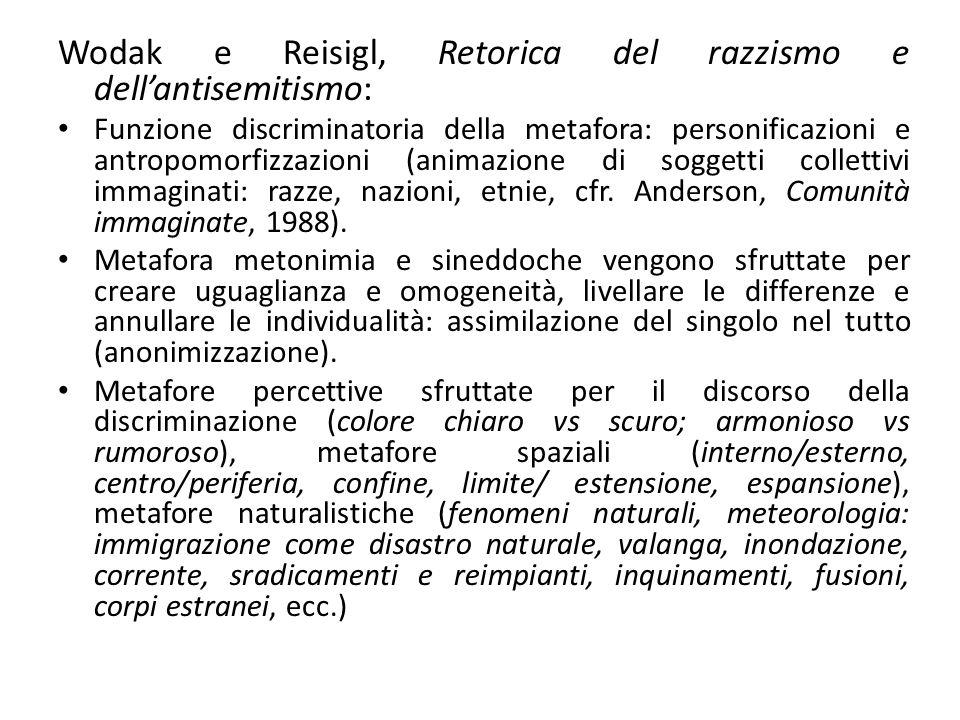 Wodak e Reisigl, Retorica del razzismo e dell'antisemitismo: