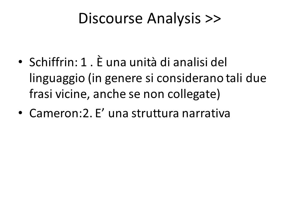 Discourse Analysis >>