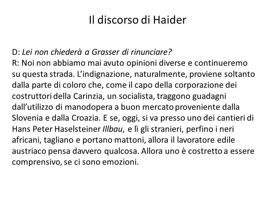 Il discorso di Haider D: Lei non chiederà a Grasser di rinunciare