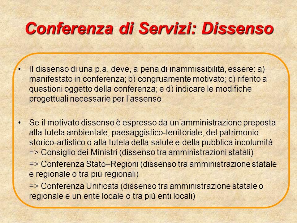 Conferenza di Servizi: Dissenso