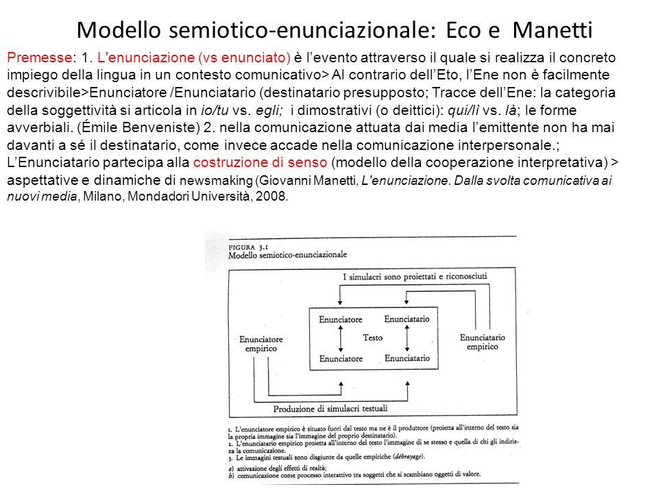 Modello semiotico-enunciazionale: Eco e Manetti