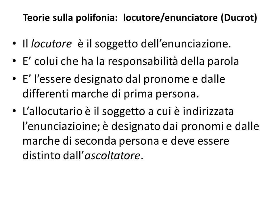 Teorie sulla polifonia: locutore/enunciatore (Ducrot)