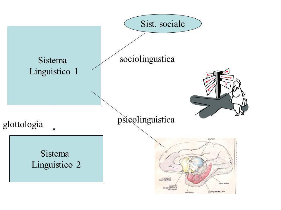 Sist. sociale Sistema. Linguistico 1. sociolingustica. psicolinguistica. glottologia. Sistema.