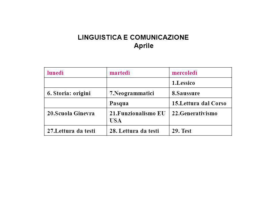 LINGUISTICA E COMUNICAZIONE Aprile