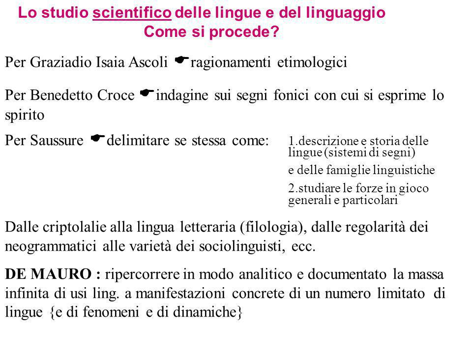 Lo studio scientifico delle lingue e del linguaggio Come si procede